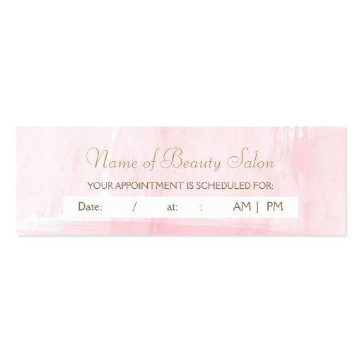 Simple Pink Gold Watercolor Appointment Reminder Mini Business Card