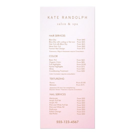 Simple Pink Ombre Salon Price List Service Menu Zazzle