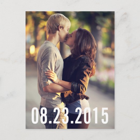 SIMPLE TYPOGRAPHY VERTICAL SAVE THE DATE POSTCARD Zazzle - save date postcard