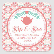 Sip & See Meet Baby Tea Party Sticker