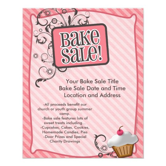 Small Bake Sale Flyers, Sweet Pink Swirls Flyer Zazzle