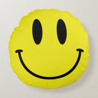 Smiley Face and Sad Face Yellow Round Pillow | Zazzle
