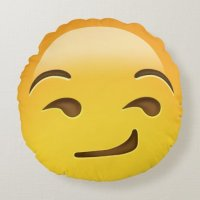 Smirking Face Emoji Round Pillow | Zazzle