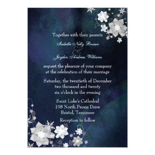 Snow Flowers Elegant Winter Wedding Invitation Zazzle