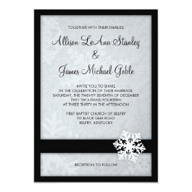 Snowflake Winter Wedding Invitation - Black, White