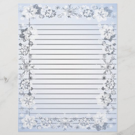 Snowflakes Border Heavy Lined Writing Paper Zazzle
