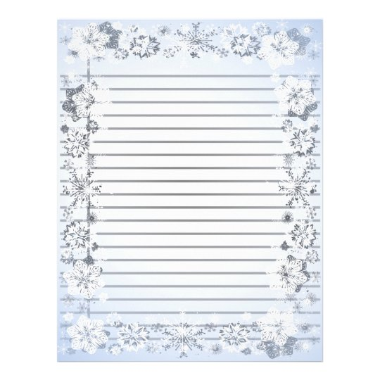 Snowflakes Border Heavy Lined Writing Paper Zazzle - lined border paper