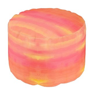 Sol-Yellow and Orange ombre watercolor pattern Round Pouf