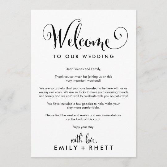 Southern Belle Wedding Welcome Letter  Itinerary Program Zazzle