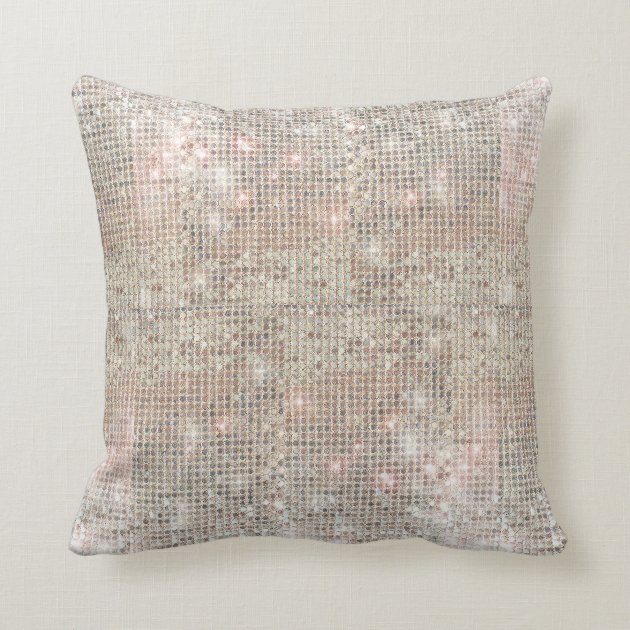 Sparkly Silver Sequins Throw Pillow Zazzlecom