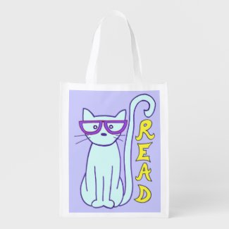 Spectacle Cat with Purple Glasses with Read sign Market Totes