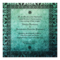 Square Ornate Green Damask Gothic Wedding Invitation Invites