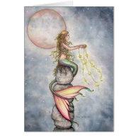 Star Filled Sky Mermaid Greeting Card