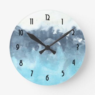 Stormy Blues Abstract Painting Wallclock