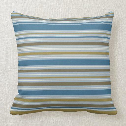 Stripey Design Gold Cream Brown Blues Throw Pillow Zazzle