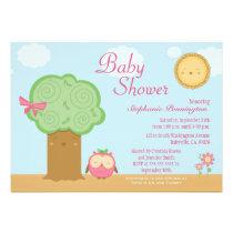 Stylish cute kawaii tree owl baby shower invite
