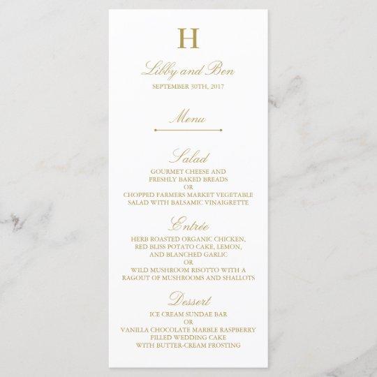 Stylish Gold  White Wedding Menu Template Zazzle