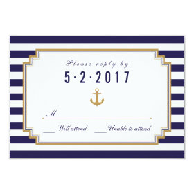 Stylish Nautical Wedding RSVP Card
