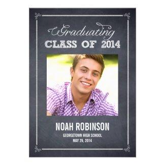 Stylishly Chalked Photo Graduation Invitation