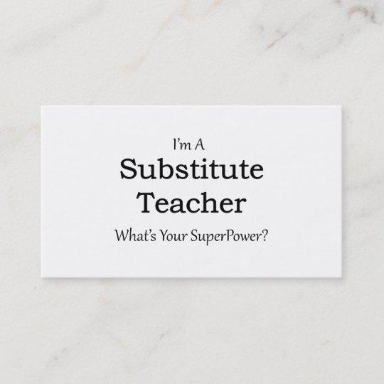 substitute Teacher Business Card Zazzle