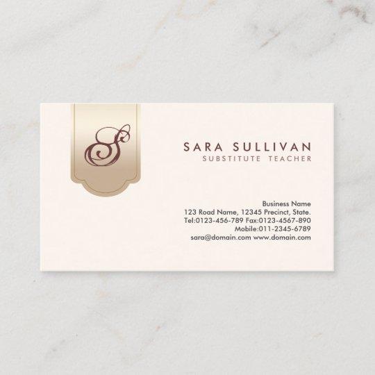 Substitute Teacher Gold Tab Monogram Business Card Zazzle