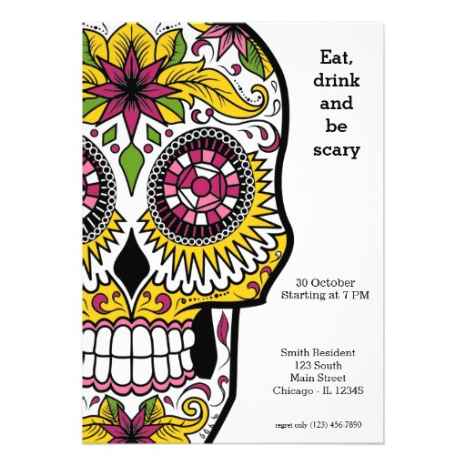 Personalized Day of the dead party Invitations CustomInvitations4U