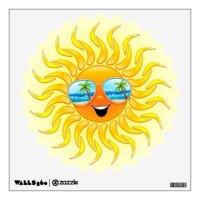 Summer Sun Cartoon with Sunglasses wall decal | Zazzle.com