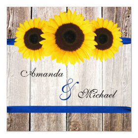 Sunflower Barn Wood Blue Ribbon Wedding Invitation