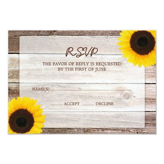 Sunflower Barn Wood Wedding RSVP Response Card