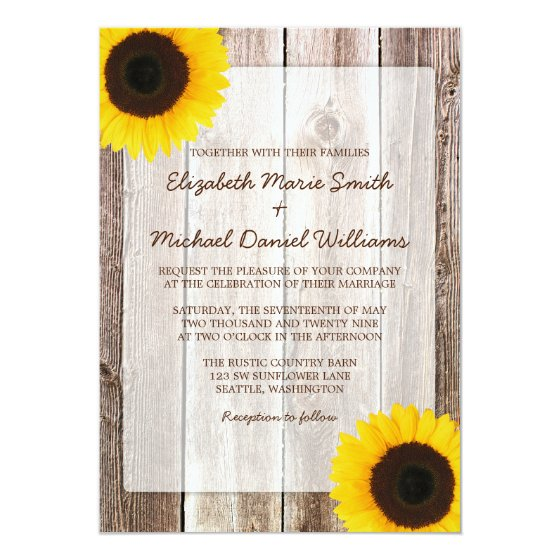 Sunflower Rustic Barn Wood Wedding Card