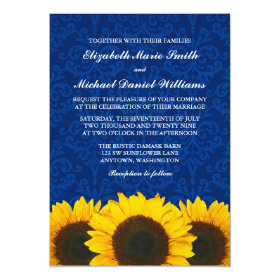 Sunflowers Blue Damask Wedding 5x7 Paper Invitation Card