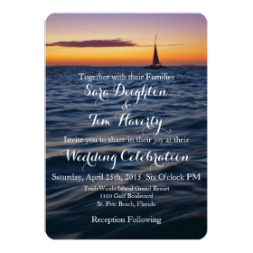 Sunset Sail Contemporary Nautical Wedding Invite