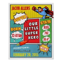 Superhero Birth Announcement - Wall Art   Zazzle