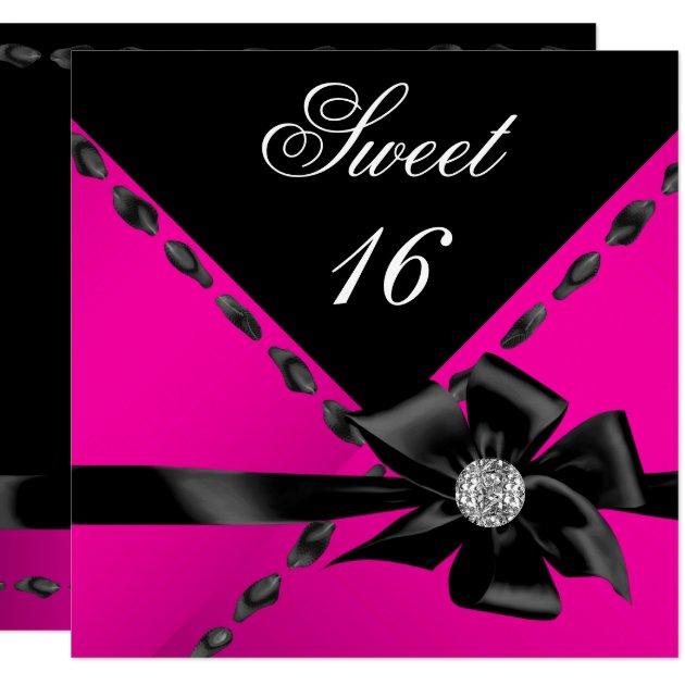 Sweet 16 Hot Pink Bow Black Birthday Party Invitation