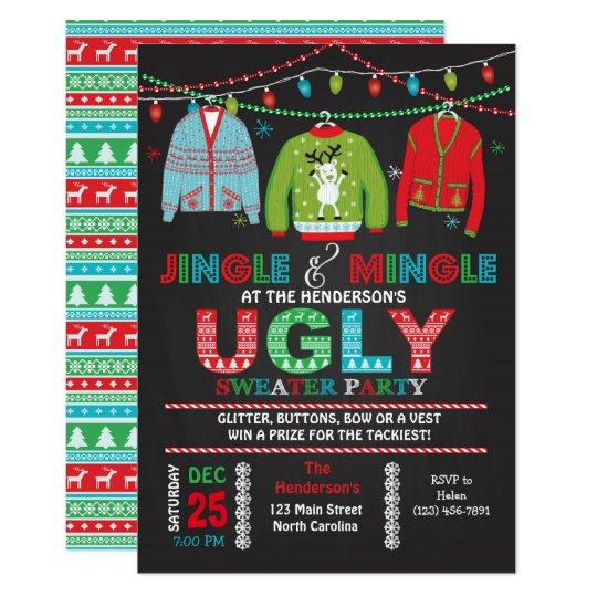 Tacky Ugly Sweater Christmas Party Invitation Zazzlecom