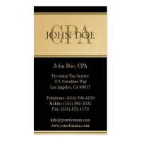Tax Accountant Gold Stripes CPA Business Card Template