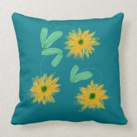 Teal And Golden Yellow Throw Pillow | Zazzle
