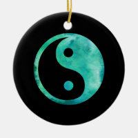 Teal Aqua Watercolor Yin Yang Taoism Balance Double-Sided Ceramic Round Christmas Ornament