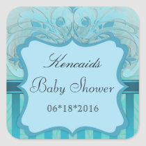 Teal Damask Baby Shower Square Stickers