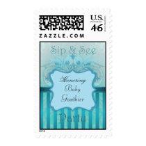Teal Damask Sip See Baby Shower Postage Stamp