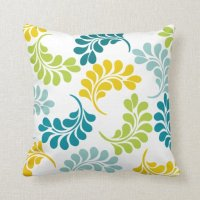Teal Green Yellow Floral Pillow | Zazzle