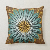 Teal, Yellow, and Brown Abstract Floral Pillow | Zazzle