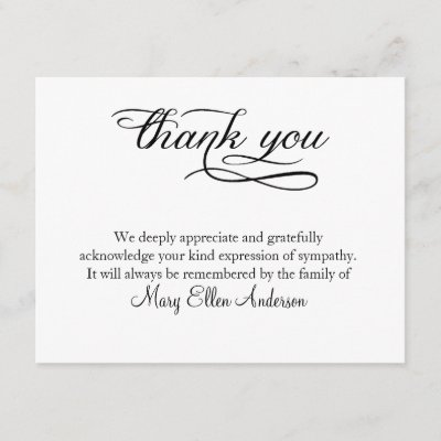 Funeral Thank You Note Behreavement Zazzle