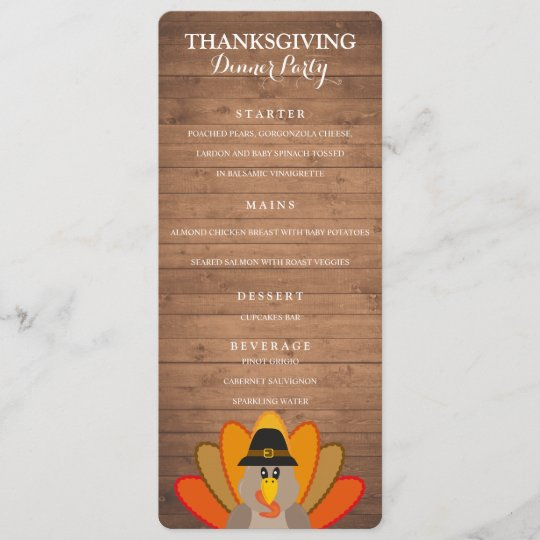Thanksgiving Dinner Party menu template Zazzle