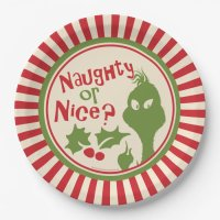 The Grinch | Naughty or Nice Paper Plate | Zazzle