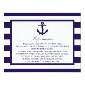 The Nautical Anchor Navy Stripe Wedding Collection 4.25x5.5 Paper Invitation Card