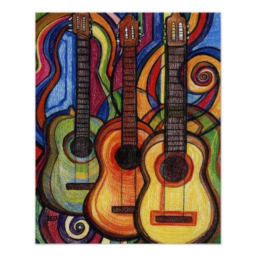 Poster Kunst Three Guitars Poster | Zazzle