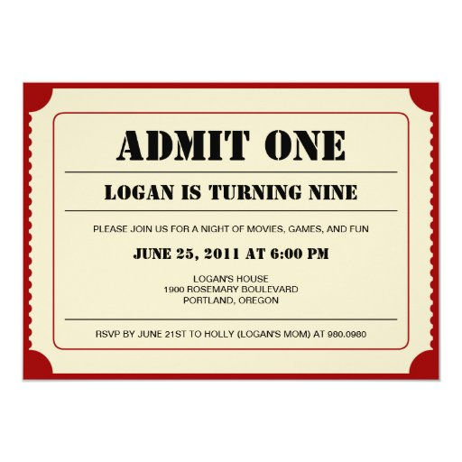 ticket stub invitation