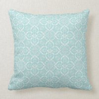 Tiffany Blue & White Damask Pillow | Zazzle