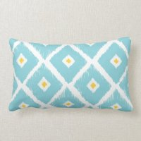 TIFFANY BLUE & YELLOW IKAT DIAMOND PATTERN PILLOW | Zazzle